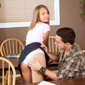 Barely legal cutie Liza Rowe flashing upskirt panties before baring flat teen chest