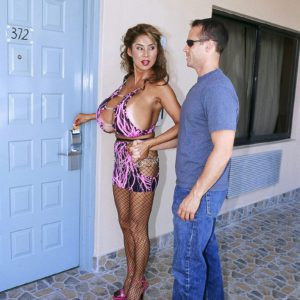 Buxom prostitute Minka giving a blowjob for money after street pickup