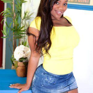 Cute black chick Nina Roti hikes denim skirt to flaunt big black booty