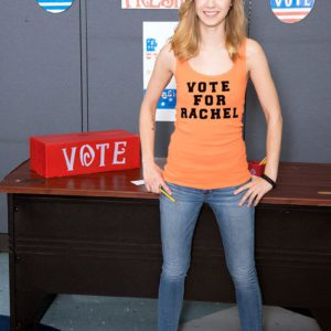 Barely legal teen girl Rachel James revealing flat chest in classroom at school