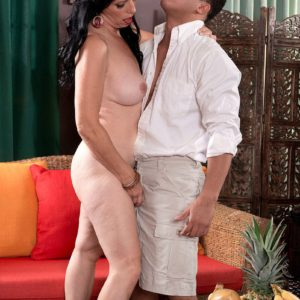 50 plus MILF Raven Flight has her big tits freed for sex with younger man