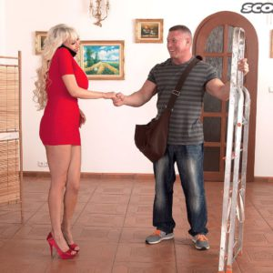 Top heavy blonde babe Sandra Star having massive fun bags played with