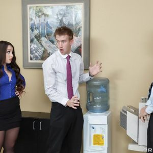 Dark-haired secretary Lola Foxx taking anal invasion in work environment after giving huge penis blow job