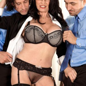 Gangly black-haired Rita Daniels flaunting mature upskirt panties before MMF Three-way