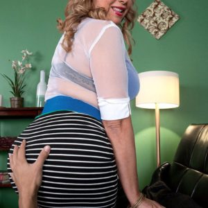Gorgeous Latina MILF over Fifty Marcella Guerra showing off gigantic upskirt ass before unveiling funbags