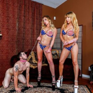 Light-haired girlfriend Mickey Tyler and bikini outfitted gf lead collared masculine sub on leash