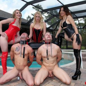 Marvelous chicks Vanessa, Alexa and Rydell abusing collared sub boys in latex boots