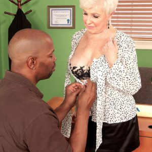 Over 60 MILF whipping out monster-sized grannie melons before bi-racial sex in office with BIG EBONY COCK