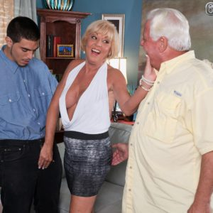Platinum-blonde granny Scarlet Andrews releasing gigantic breasts before cuck husband