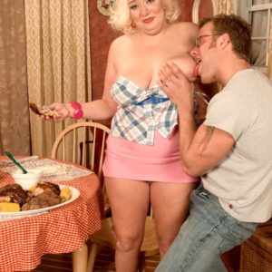 Round ash-blonde female Daphne Carter letting enormous juggs loose while gobbling food and providing FELLATIO