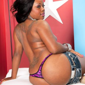 Round ebony first-timer Jayden Starr showing off huge black butt in g-string panties