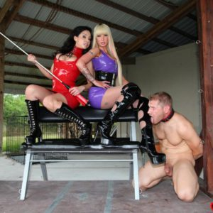 Sadomasochistic girls Kimmy and Alexia torment collared male submissive with electroshock implement