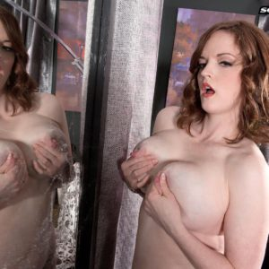 Solo chick model Bebe Cooper freeing monster-sized draping boobs from tempting lingerie in hose