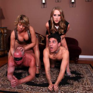 Spindly girlfriends Cadence Lux and Brianna pegging subby spouses on restrict bondage table