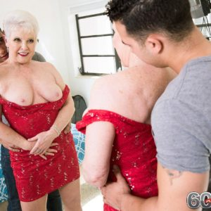 Stocking garbed Sixty plus MILF Jewel baring hefty juggs before providing large penis a blow-job