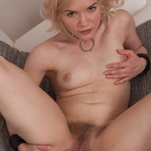 Ultra-cute European light-haired Baibira revealing fur covered twat in slave dog collar and barefeet