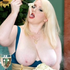 Blonde big hot woman XXX vid star Dawn Davenport jacking rod while gobbling food and masturbating