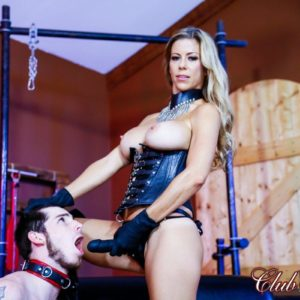 Blonde Dominatrix Alexis Fawx face banging her sissy husband with strap-on in spandex boots