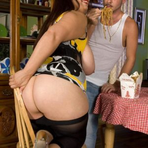Brunette feeder Rikki Waters extracting monster-sized butt and tits before licking knob in high-heeled shoes