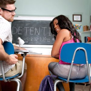 Brunette female Serenity Evans flashing panty outfitted big butt in classroom