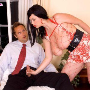 Brunette MILF pornostar Terry Nova providing handjob and blow-job in fishnet bodystocking