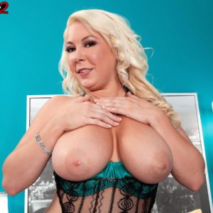 Chubber ash-blonde solo chick Morgan Page letting fun bags free from wonderful lingerie in high-heeled shoes