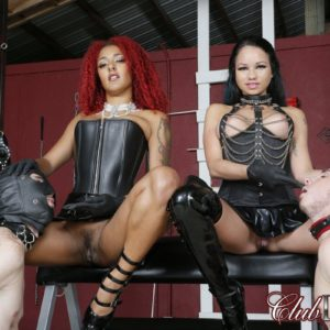Daisy Ducati and Domme gf let collared sissy men free from their cage