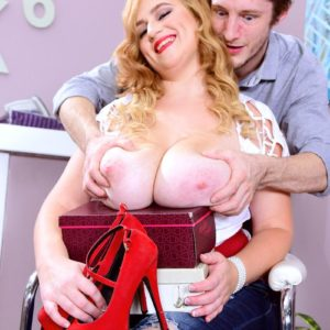 Huge-chested blond BBW Mya Blair stroking and blowing pecker in ripped blue jeans