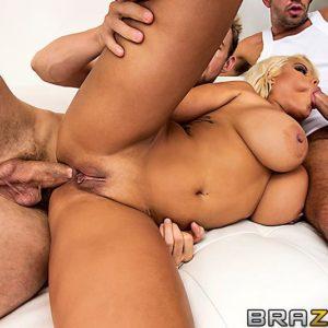 Latina XXX star Bridgette B slurping TWO enormous sausages before hard-core DOUBLE PENETRATION and jizz shot