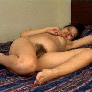 Limber Euro amateur plays with stiff hard nips before stretching hairy vagina