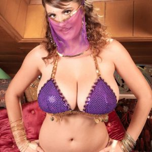 MILF pornographic star Valory Irene modeling temptingly non naked in harem chick uniform