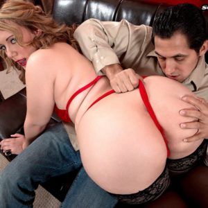 Round adult film starlet Brandi Sparks gliding panties over immense rump in tights and heels