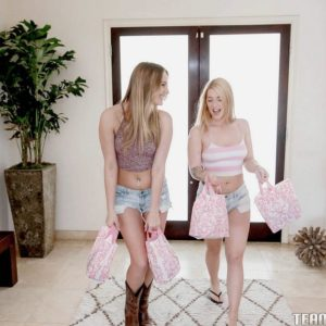 Teen girls Jenna and Kenna eat lezzie pussy and share dual dildo in hose