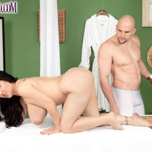 Thick black-haired MILF Daylene Rio getting drilled by massagist on massage table