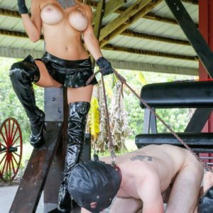 Big-titted yellow-haired Authoritative type Alexis Fawx leading TWO masked masculine sex submissives on leashes