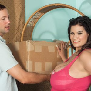 Black-haired Latina plumper Haydee rodriguez uncovering humungous hooters from dress
