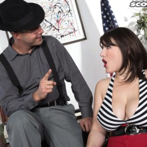 Brown-haired MILF May West having large tits and stiff swell nips unveiled by stud in hat
