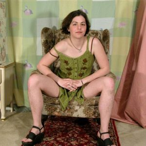 Euro first-timer Gypsy displaying pierced nipples, unshaven underarms and fur covered thicket