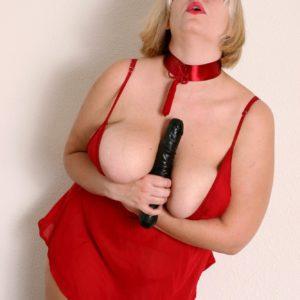 Fat senior platinum-blonde with large all-natural boobs masturbating vag with big screw stick