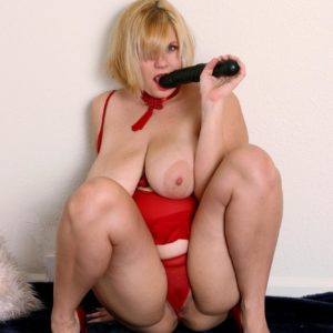 Fat senior platinum-blonde with large all-natural boobs masturbating vag with big screw stick