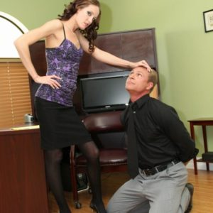 Gangly yellow-haired Domme Haily Youthfull forcing dude to submit to her femdom cravings