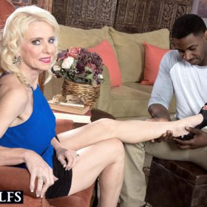 Gawky elder golden-haired broad Cammille Austin preparing for sex with large ebony cock
