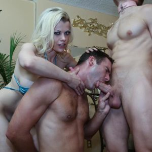 Golden-haired mistress Nadia Milky forcing collared husband to gobble another man's knob