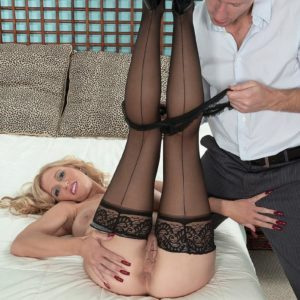 Gorgeous blond MILF Holly Claus having immense funbags uncovered before fellating immense hard-on