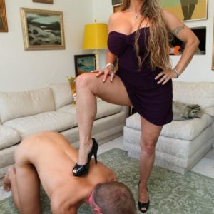 High heel attired authoritative type Holly Halston having collared sissy lick out gash