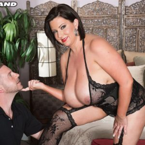 Immense breasted black-haired Paige Turner giving handjob after nipple sucking in hosiery