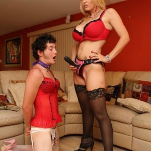 Lanky stocking outfitted fair-haired mistress Charlee Pursue face banging crossdressing sissy maid