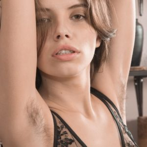Lingerie clad amateur Christy letting out lil' hooters and fur covered gash from lingerie