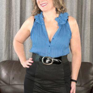 MILF over 50 Catrina Costa seducing boy in glasses wearing short microskirt and high-heels