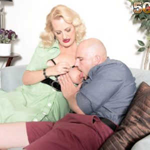 Over Fifty ash-blonde lady Lady Dulbin seducing junior boy in nippleless brassiere